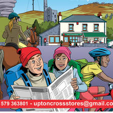 Promotional flier illustration and design for village stores