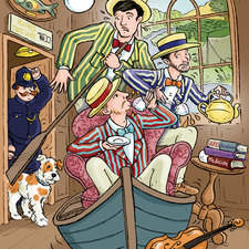 artwork for theatre production of Three Men In A Boat