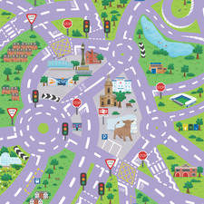 An illustrated map of Birmingham for a children's car play mat. Currently available for preorder on Hippo Mat.