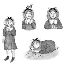 Black and white character illustrations of Alice for a personal project on my own modern re-telling of Alice in Wonderland.