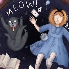 An illustration of Alice and Dinah the cat falling down a well for a personal project on my own modern re-telling of Alice in Wonderland.