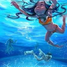 Deep in the swimming pool. Floating is so cool. :-)