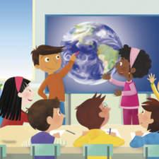 Several children interactive class