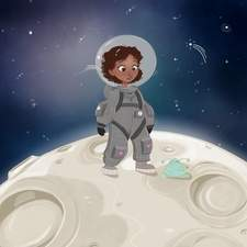 Tiny astronaut, you never know what you'll find on the moon.