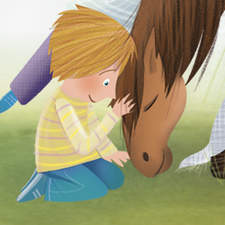 Cute children petting an ill horse. Taking care a horse