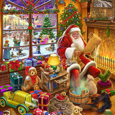Father Christmas relaxing in his home.