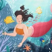 A fun mermaid illustration for a children's book.
