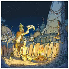 Prehistoric shaman performing a ritual.