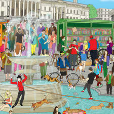 Where is the dog in Trafalgar Square?