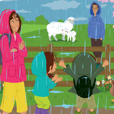 When it starts to rain who will help daddy over the fence? :-) [ based on character designs by Gustavo Mazali ]
