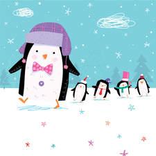Penguins go for a little walk