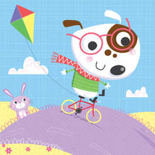 Doggy rides his little bike