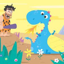 Caveman and Dinosaur