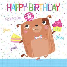 Birthday dog with cake