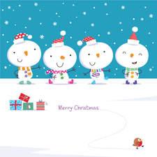 Four snowmen Merry Christmas