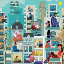 Home working during pandemic. Illustration cover for La Nación, Sunday magazine of the prestigious Argentinian newspaper.
