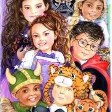Realistic style watercolour of World Book Day school children illustration.
