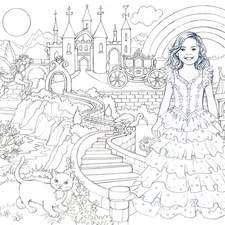Colouring in activity in black & white template