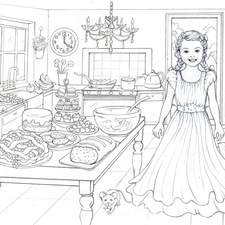 Colouring in page in black and white template.