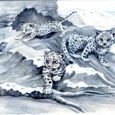 Black and white watercolour snow leopards