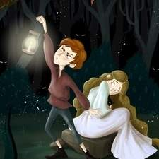The princess and the elf, night in a scary forest.