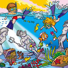 Children's textbook illustration of the ocean floor with children diving for the ANAYA publisher.