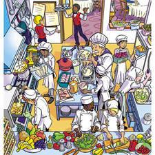Children's illustration for textbooks of the kitchen of a restaurant, Editor SANTILLANA.