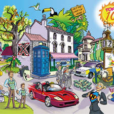 Illustration for a website of television programs, can you guess them all?