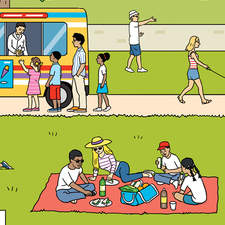 Park scene featuring multi ethnic families involved in various activities.