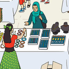 Street market scene showing multi ethnic traders and buyers.