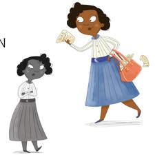 Portfolio piece, character study of Jo Ann Robinson, created on a course, words by Jennie Stevenson.