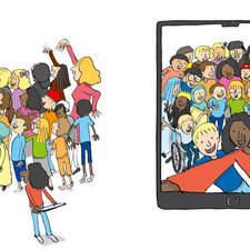 Kids taking a selfie with school ipad