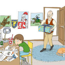 Collins, peapod readers, Get the glue, Lew in his bedroom with grandad