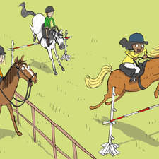 Collins, peapod readers, welcome to Horse-riding Club, in field horse jumping