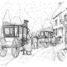 Penguin, Emma, Getting into carriages in snow blizzard