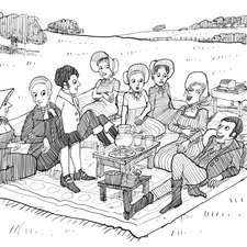 Penguin, Emma, Picnic in the field, Emma, Frank, Mr & Mrs Elton, Jane, Miss Bates, Mr Knightly and Harriet