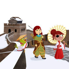 Mulan on the Great Wall of China. Published by Bromera