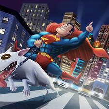 Crazy superman riding a dog