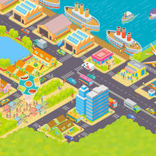 City isometric illustration for an educational book.