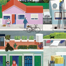 Editorial illustration to depict moving from the city to a small town. Published in Sunday magazine of La Nación newspaper (Argentina).