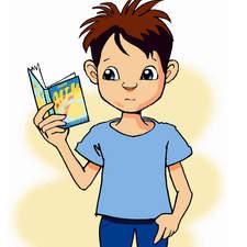 Cartoon, boy, reads, book