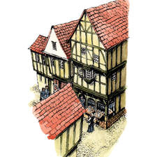View of Medieval street scene