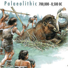 A mammoth, hunt, from Palaeolithic era