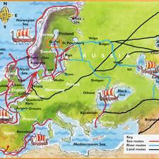 Coloured map showing viking routes sailing around Europe