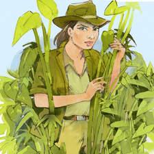 An Indiana Jones type female in macho explorer role