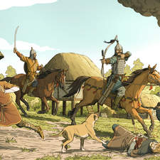 Magyar raiders pillaging a Saxon village in the 10th century.
