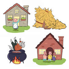 A selection of illustrations for The Three Little Pigs - Findel