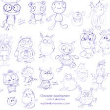 Client: TED - The Entertainment Department. Project: Development of 5 Cheeky Monster characters. Initial pencil sketches.
