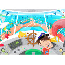 Client: TED - Marella Cruises. Project: The M Crew. Illustration for children's entertainment area on board a cruise ship.