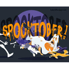 Boken the Dog. Illustration for Halloween